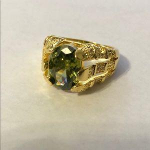 18kgf Men's yellow gold and green garnet Ring